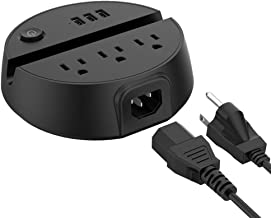 Power Strip with USB, NTONPOWER 3 Outles 3 USB Ports Charging Station with Switch Control and Phone/Tablet Holder 5ft Extension Cord for Office/Dorm/Hotels/Nightstand/Desktop/Cruise Ship - Black