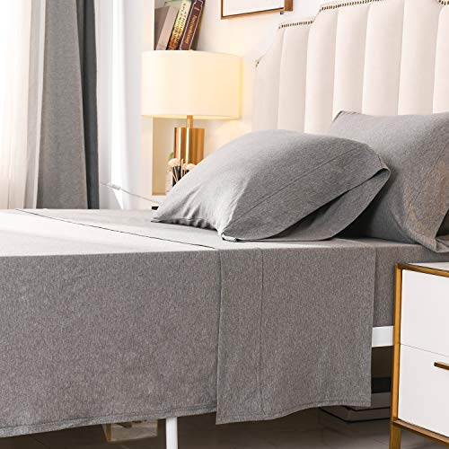 PURE ERA Jersey Knit 4pc Bed Sheet Set 100% T-Shirt Heather Cotton Super Soft Comfy Breathable Fits Mattress Up to 20' Extra Deep Pocket Dark Grey King