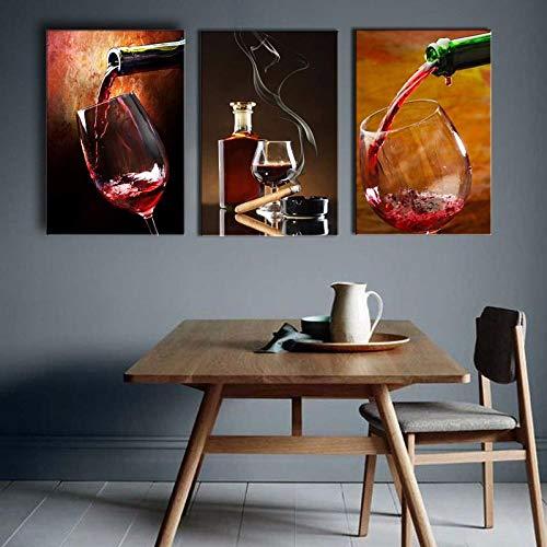 Cqzk Stillleben Leinwand Malerei Rotwein Becher Wandmalerei Druck auf Leinwand für Bar Restaurant Dekor 40X60cm x3 ohne Rahmen