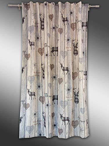 Clever-Kauf-24 Schal mit verdeckten Schlaufen Vorhang Gardine Landhaus Hirsch braun BxH 135 x 145/175/245 cm | Blickdicht | weich fließender Stoff (bügelleicht) | (BxH 135x175cm)