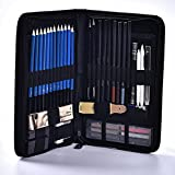 Lápices de dibujo y cadza de boceto 48 piezas, artista colorear lápices de dibujo conjunto, kit de boceto completo incluye lápices de grafito, lápices de dibujo en color para niños, adultos,Black