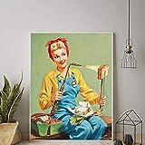 ZLARGEW Vintage Käse Sandwich Toast Poster Frau Küche Pin