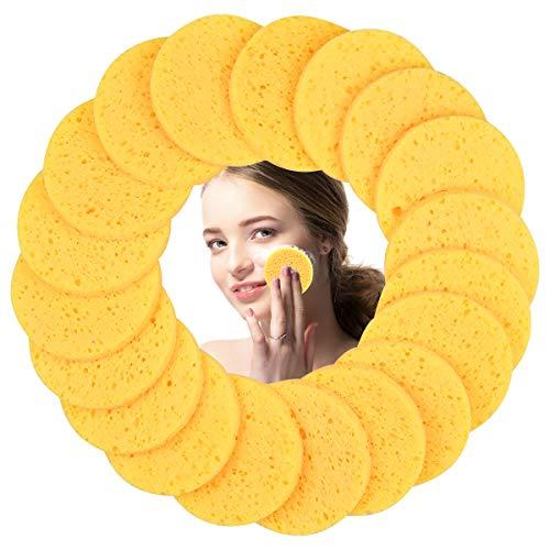 50 Stück Gelb Gesichtsschwamm, Rund Kosmetik Schwämme Gesicht Reinigungs Schwamm, 8cm Abschminken Schwamm Pads, Zellulose Gesichtsschwämme für Make-up-Entfernung