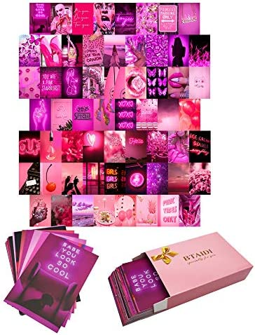 Btaidi Neon Pink Wall Collage Kit 60 Set Aesthetic Atmosphere for Wall Aesthetic 4x6 inch Pictures product image