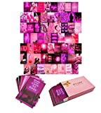 Btaidi Neon Pink Wall Collage Kit 60 Set , Aesthetic Atmosphere for Wall Aesthetic,4x6 inch Pictures for Room Decor ,Bedroom Decoration Photos for Teen Girls , Cute VSCO Trendy Dorm Posters
