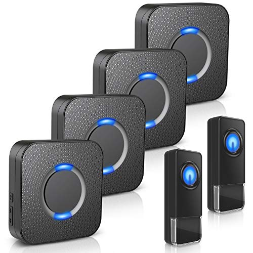Wireless Doorbell - Waterproof Door Bells Chimes Wireless Kit, 1000 Ft Operating Range Door Alarm With 5 Volume Levels (Mute Mode) 58 Melodies & Led Flash For Home Apartment (2 Button+4 Receivers)
