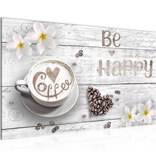 Bild Küche Kaffee Modern Wandbilder - 100% Made In Germany - Be Happy Weiss Küchenbilder 020614c