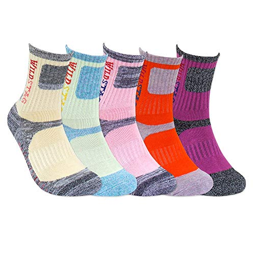 WILD STAG For Women Random Color, 5 pairs pack Cushion Outdoor Hiking Walking Trekking Socks
