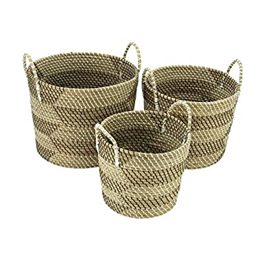 Deco 79 41146 Sea Grass Storage Basket (Set of 3), 14 /17 /19 H