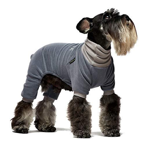 Fitwarm Bestickte Hundebekleidung Rollkragenpullover Thermo-Fleece Welpen-Schlafanzug Doggie Outfits Katze Onesies Jumpsuits Blau XL