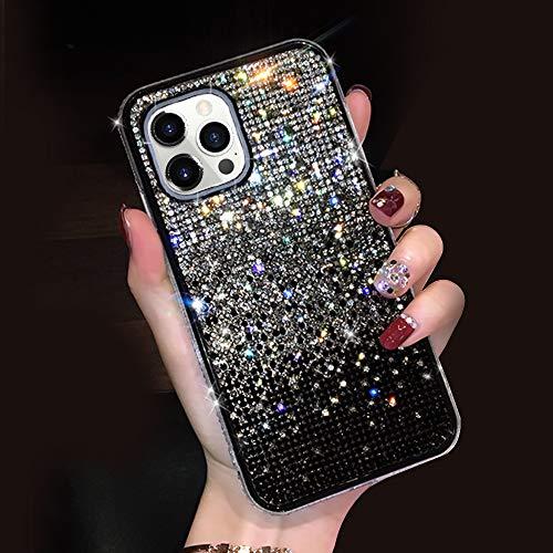 LUVI für iPhone 12 Pro Max Glitzer Diamant Hülle Cute Bling Sparkle Glänzend Kristall Strass Bumper Luxus Case für Mädchen Frauen Schutzhülle mit 3D Handmade Gradient Ramp Case Schwarz