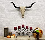 Atlantic Ebros Gift Large 27' W Longhorn Cow Skull Wall Head Hanging Sculpture Plaque Bull Steer Wild Beast Figurine Hunters Game Trophy Bulls Cows Steers Grassland Pasture Herding Animal Decor