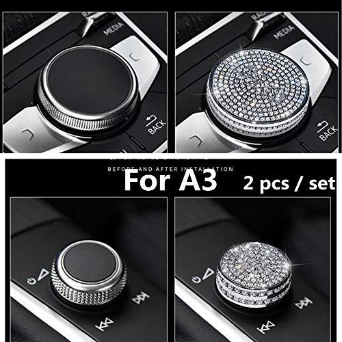 Car Interior Bling Accessories for Audi A3 Multimedia control knob 3D Rhinestone Decals Ring Car Bling Accessories for Women