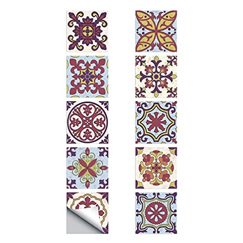 WINOMO Pegatinas de pared de papel para azulejos de pared, 10 unidades, a prueba de aceite para cocina, pegatinas de vinilo vintage, impermeables, extraíbles para pared y suelo, decoración de baño