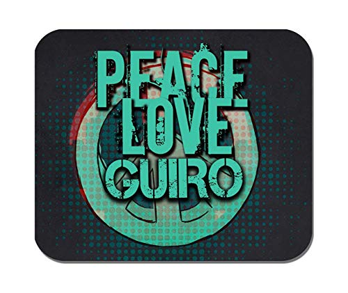 Makoroni - Peace Love Guiro Music- Non-Slip Rubber - Computer, Gaming, Office Mousepad