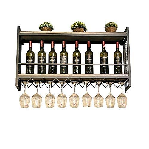 JHGJBJ Metall-Wandweinregal, Industrie Stil zweischichtige Wand-Becherhalter Schmiedeeisen, Wein Display-Ständer mit Weinglas Trog (Size : 100cm)