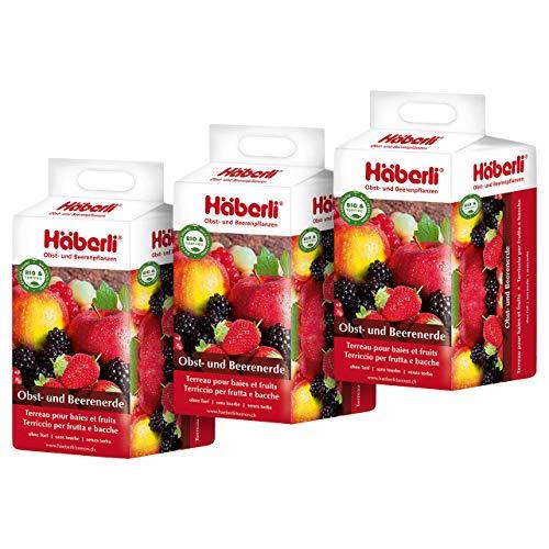 Häberli torffreie Obst- und Beerenerde 3 x 25L - für Naschfrüchte - 75 Liter