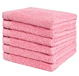 Premium 6 Pieces Towel Set Including 6 Exclusive Washcloths Towels|Fingertip Towels 13' X 13' - Color: Pink Rose 100% Cotton |Machine Washable high Absorbency | by Weidemans