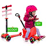 Hurtle 3 Wheeled Scooter for Kids - Child/Toddlers Toy Kick Scooters w/Storage Box Seat, Safety Push-Bar Handle, Adjustable Height, Flashing Wheel Lights, For Boys/Girls 1-5 Year Old - HUKS93R (Pink)