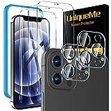 UniqueMe [2+3 Stück] Panzerglas Kompatibel mit iPhone 12 Pro (6.1 Zoll) 3 Stück Schutzfolie mit 2 Stück Blendschutz kameraschutz 9H Festigkeit Folie, [Blasenfrei][Anti Glare] HD Klar Gehärtetes Glas