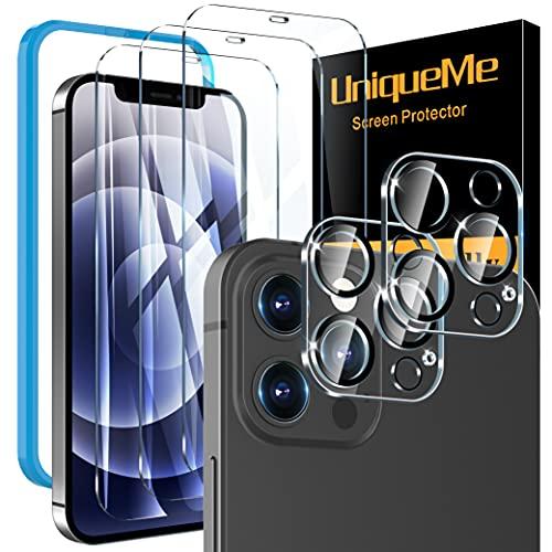 [3+2 Pezzi] UniqueMe Pellicola Protettiva compatibile con iPhone 12 Pro 6.1 Pollici, [3 Pezzi] Vetro Temperato Pellicola e [2 Pezzi] Pellicola Fotocamera, 9H Hardness [Precise cutout]