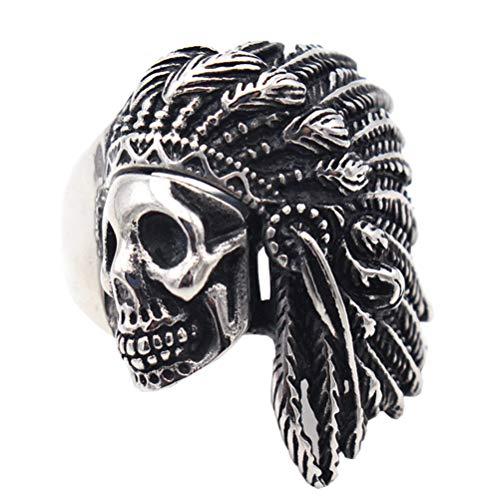 OAKKY Retro Hip Hop Tribal Nativo Americano Indios Jefe Cráneo Cabeza Anillo Hombre Acero Inoxidable Tocado de Plumas Punk Plata Tamaño 27