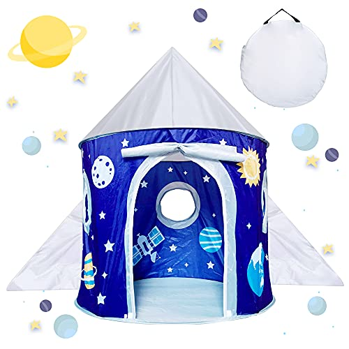 Toy Gifts for 3-8 Year Old Kids Boys Girls, Pop Up Play Tents for Kid Age 4 5 6 7, Space Rocket Toys for Toddler Boy Birthday Present, Kids Outdoor Toys Foldable Playhouse for Boy Girl Child Gift