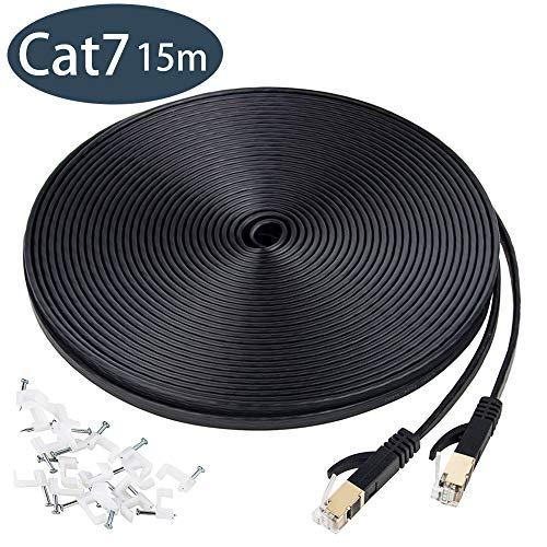 Cat 7 Ethernet Kabel 15m, Netzwerkkabel 10Gbit/s 600Mhz Lan Kabel Flaches Netzwerkkabel FTP Kabel mit vergoldete RJ45 kompatibel mit Cat.6 Cat.5e Cat.5 für Router,Modem,Switch, PS4/3, Patchpannel usw
