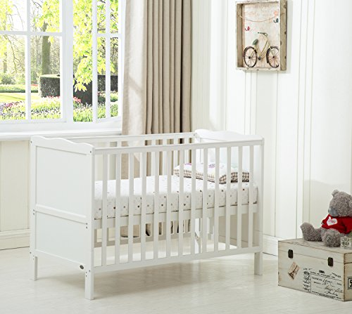 MCC Wooden Baby Cot Bed Toddler Bed Premier Aloe Vera Water repellent Mattress Made in England (Orlando White)