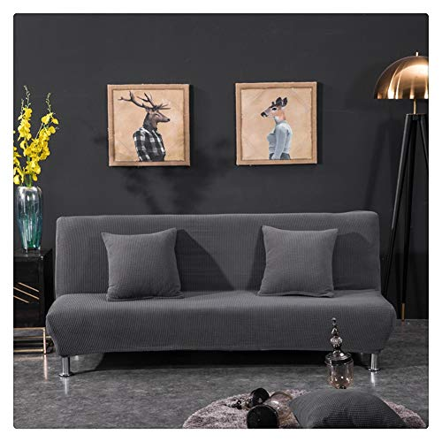 Elastisch Sofabezug ohne armlehnen Klappsofa Überwürfe Sofabezug Elastische voll zusammenklappbare Couch Sofa Schild passt zusammenklappbare Sofa-Bett ohne Armlehnen,Dunkelgrau,3 Sitzer(190-225CM)