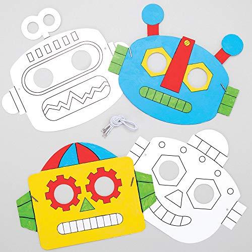 Baker Ross Inkleurbare Robot Maskers (8 stuks) Knutselspullen en Knutselsets voor Kinderen