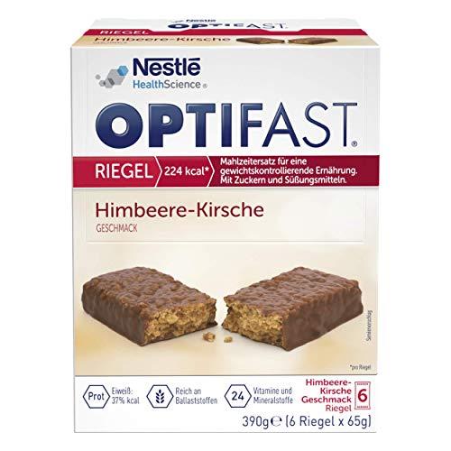 OPTIFAST KONZEPT Diät Riegel Himbeer Kirsche zum Abnehmen | eiweißreicher Mahlzeitenersatz mit wichtigen Vitaminen und Mineralstoffen | schnell zubereitet und lecker im Geschmack | 6 x 65g