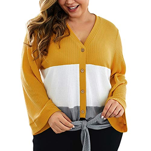 Damenmode Plus Size Stitching Button Knot Langarm Top Pullover Bluse Frauen Oberteile...