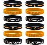 (12-pack) Orange Awareness Ribbon Bracelets,...