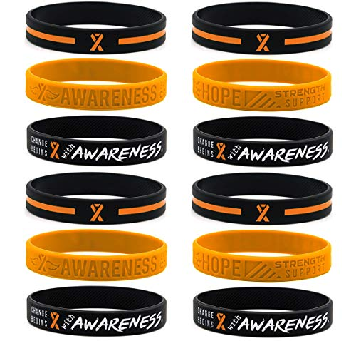 (12-pack) Orange Awareness Ribbon Bracelets, Variety Pack - Wholesale Bulk Pack of 12 Silicone Wristbands to Symbolize Hope, Courage, Strength, and Support - Unisex for Men Women Teens
