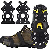 Winline Crampones,Crampones de Marcha Nieve Hielo Grips Crampones 11 Tacos Picos Garras de Zapatos Cadenas de Nieve para Tracción en Hielo Nieve y Deportes Fácil de Poner (XL)