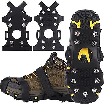 Winline Crampons pour Chaussures de Randonnée Glace Traction Crampons Antidérapant 11 Clous Neige Grips Crampons Protection antiglisse pour Hiver Randonnée Pêche Marche Escalade Alpinisme (M)