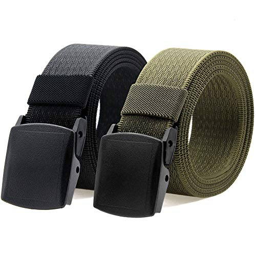 Nylon Military Tactical Men Belt Breathable Webbing Canvas Outdoor Web Belts with Plastic Buckle,2 Pack (Black + Light Green)