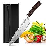 homgeek Cuchillo Chef, Cuchillo de Cocina para Cocineros y Cocineros Profesionales, 8 Pulgadas Mango ergonómico de Acero Inoxidable alemán