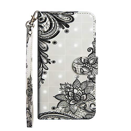 Sunrive Hülle Für Leagoo T5, Magnetisch Schaltfläche Ledertasche Schutzhülle Etui Leder Hülle Cover Handyhülle Tasche Schalen Lederhülle MEHRWEG(Schwarze Blume)