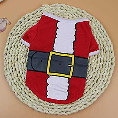 Hongyi Christmas Pet Dog Costume,Cartoon Print T-shirt Pet Clothing,Funny Costumes for Teddy Bichon for Puppy Small Pet (Large, Santa Dog Red)