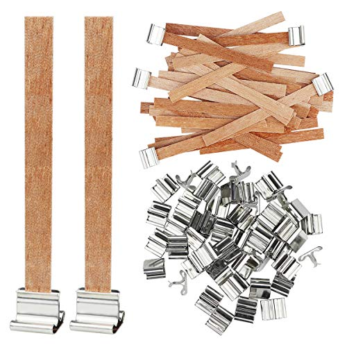 YOLUFER 50 PCS 3.5 x 0.3 Inch Candle Wicks with Iron Stand,Smokeless,Natural Environmentally Friendly Candle Cores for DIY Candle Making Craft
