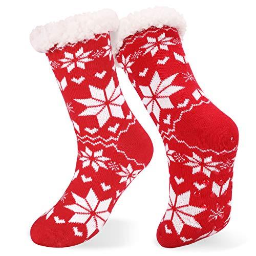 Emooqi Calcetines de estar por casa, Forro Polar Calcetines Inicio Calcetines Casuales Antideslizantes Calcetines Térmicos Cómodos y Transpirables para el Invierno Uso Diario (Rojo)