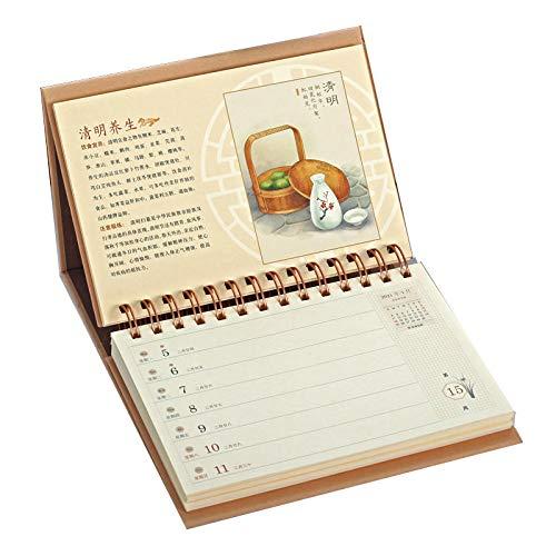 Calendarios 2021 Sobremesa Chinos Año Nuevo 2021 Calendarios 2021 Mesa para el Año Lunar del Buey,19.5x3.9x16cm,El Tema de Los Veinticuatro Términos Solares en China Calendario de sobre Mesa p