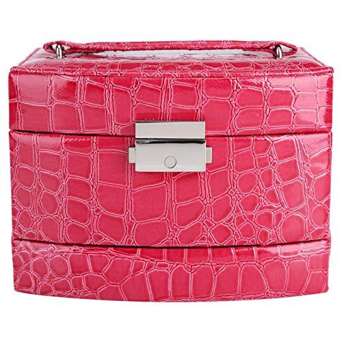 Voluxe Caja de almacenamiento de joyería, caja de joyería de regalo para mujer, para collar de joyería Pendiente de anillo (rojo rosa)