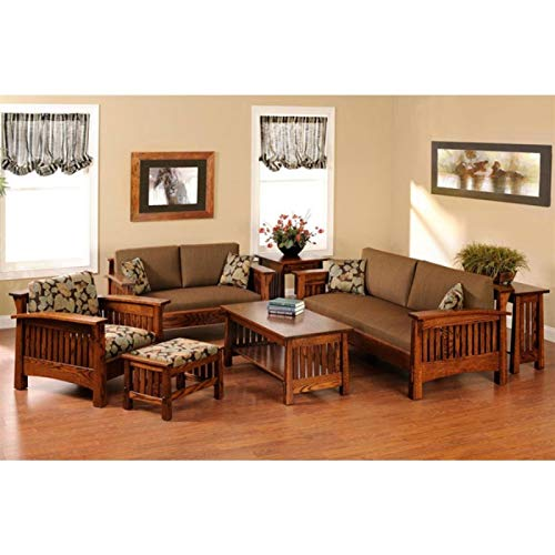MAHIMART AND HANDICRAFTS Sheesham Wood Sofa Set for Living Room | Wooden Sofa Set |Sofa with Center Table Set (3+2+1 with Center Table, Teak Finish)