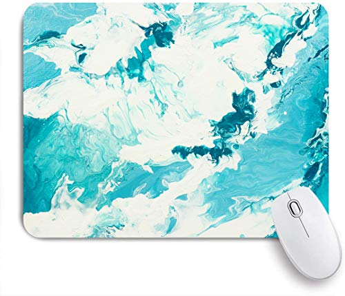 SUHOM Gaming Mouse Pad Rutschfeste Gummibasis,Aquarell Splash Blue Marble Creative mit abstrakten Wellen Liquid Paint Aquatic,für Computer Laptop Office Desk,240 x 200mm