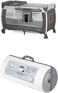 Reisepaket iCoo Starlight Reisebett, grau und Julius Zöllner Reisebettmatratze Travelsoft Premium, 60 x 120 cm