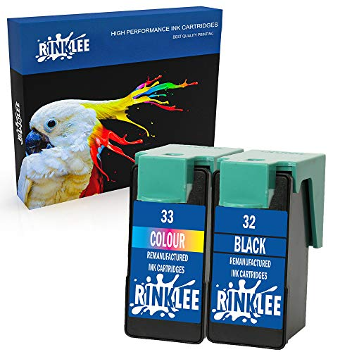 RINKLEE Remanufacturado para Lexmark 32 33 Cartucho de Tinta Compatible con Lexmark X3430 X3500 X3530 X3550 X4500 X4530 X4550 Z1400 Z1410 Z1420 Z1450 | 1 Negro, 1 Tricolor