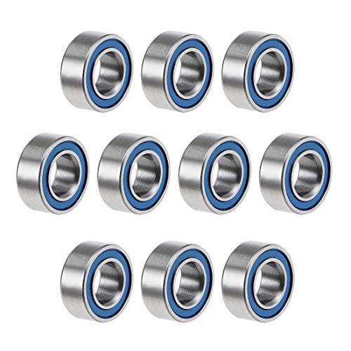 uxcell MR105-2RS Deep Groove Ball Bearings 5mm Inner Dia 10mm OD 4mm Bore Double Sealed Chrome Steel Blue Seal Z2 10pcs